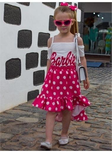 Riccotarz Kız Çocuk Barbie Puantiyeli Etekli Takım Pembe